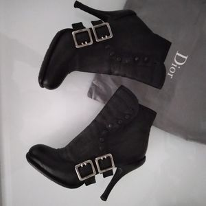 Christian Dior Spy Button black leather boots